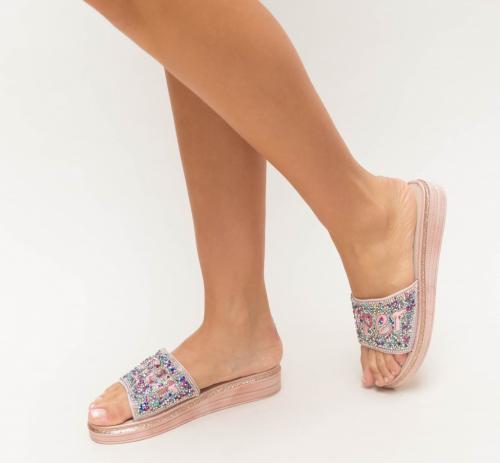 Papuci Zemel Roz - Sandale dama ieftine - Slapi