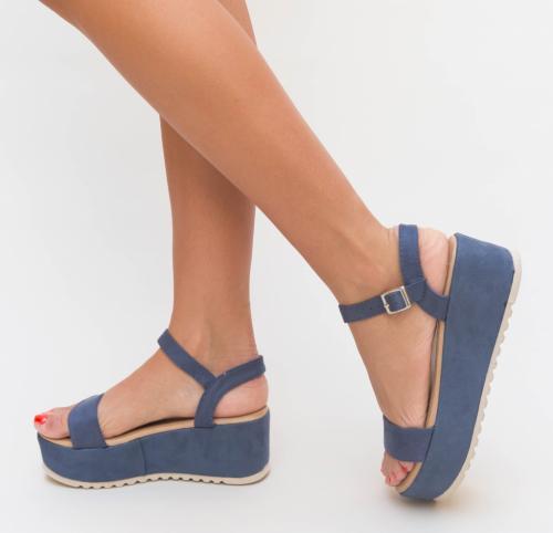 Platforme Belha Albastre - Sandale dama ieftine - Sandale cu platforma