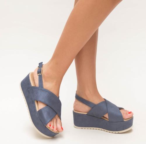 Platforme Brati Albastre - Sandale dama ieftine - Sandale cu platforma