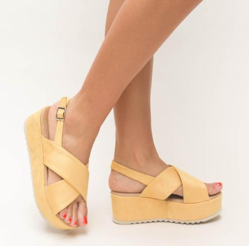 Platforme Brati Galbene - Sandale dama ieftine - Sandale cu platforma
