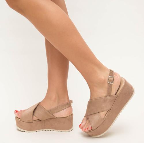 Platforme Brati Khaki - Sandale dama ieftine - Sandale cu platforma