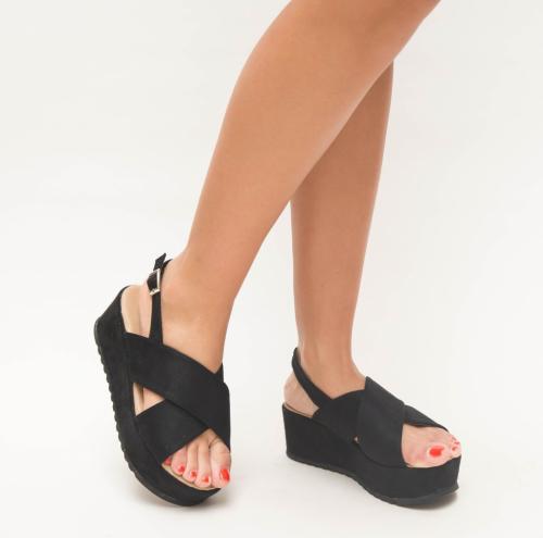 Platforme Brati Negre - Sandale dama ieftine - Sandale cu platforma