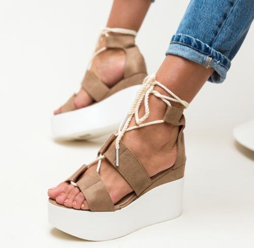 Platforme Brax Khaki - Sandale dama ieftine - Sandale cu platforma