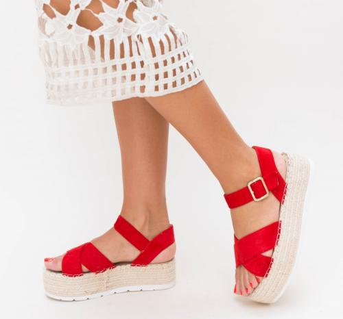 Platforme Daja Rosii - Sandale dama ieftine - Sandale cu platforma