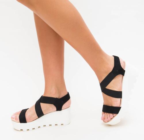 Platforme Dama Galev Negre - Sandale dama ieftine - Sandale cu platforma