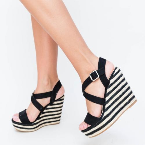 Platforme Delcea Negre - Sandale dama ieftine - Sandale cu platforma