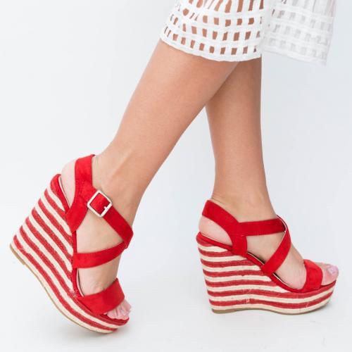 Platforme Delcea Rosii - Sandale dama ieftine - Sandale cu platforma