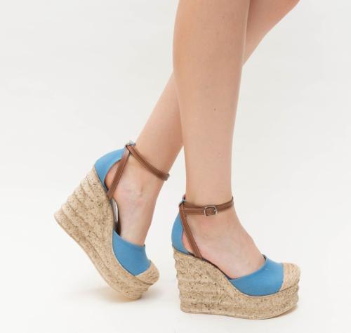 Platforme Diana Albastre - Sandale dama ieftine - Sandale cu platforma