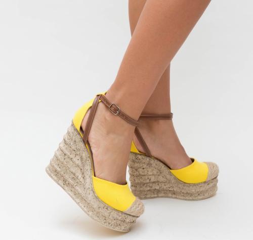 Platforme Diana Galbene - Sandale dama ieftine - Sandale cu platforma