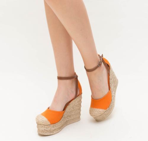 Platforme Diana Portocalii - Sandale dama ieftine - Sandale cu platforma