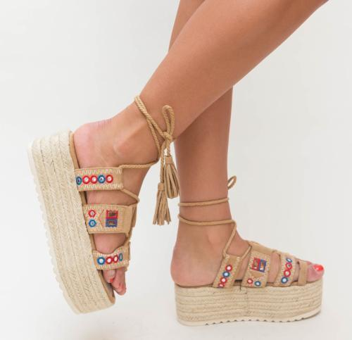 Platforme Erima Bej - Sandale dama ieftine - Sandale cu platforma