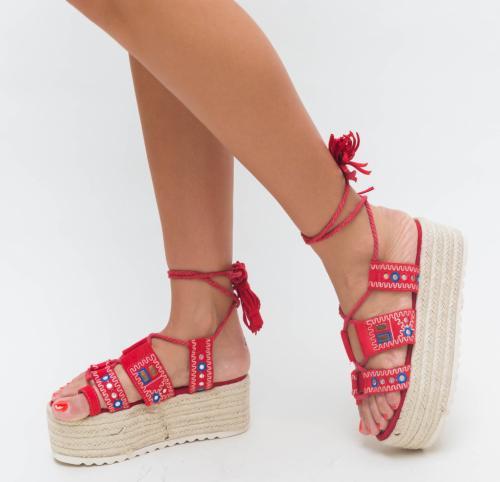 Platforme Erima Rosii - Sandale dama ieftine - Sandale cu platforma