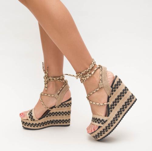 Platforme Halem Negre - Sandale dama ieftine - Sandale cu platforma