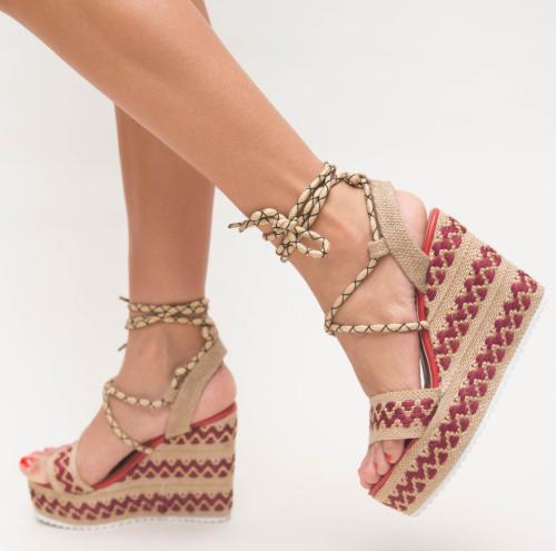 Platforme Halem Rosii - Sandale dama ieftine - Sandale cu platforma