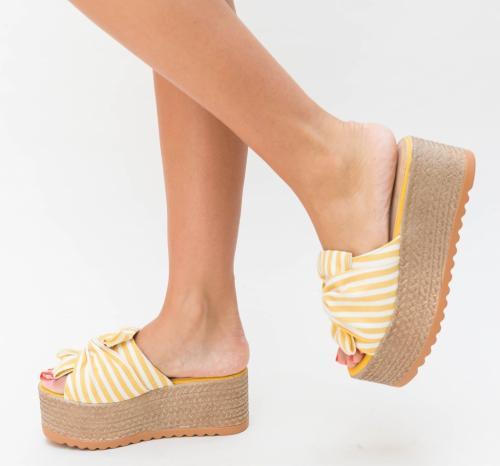 Platforme Hifi Galbeni - Sandale dama ieftine - Sandale cu platforma