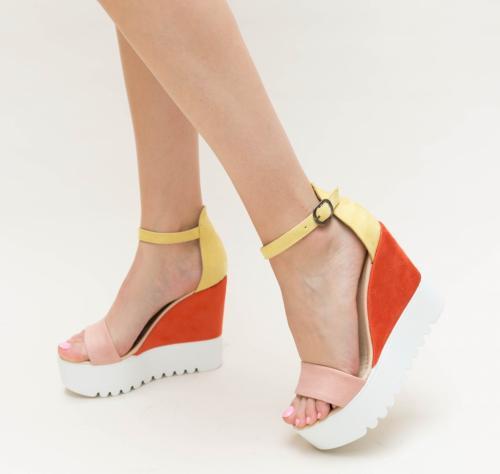 Platforme Laki Galbene - Sandale dama ieftine - Sandale cu platforma
