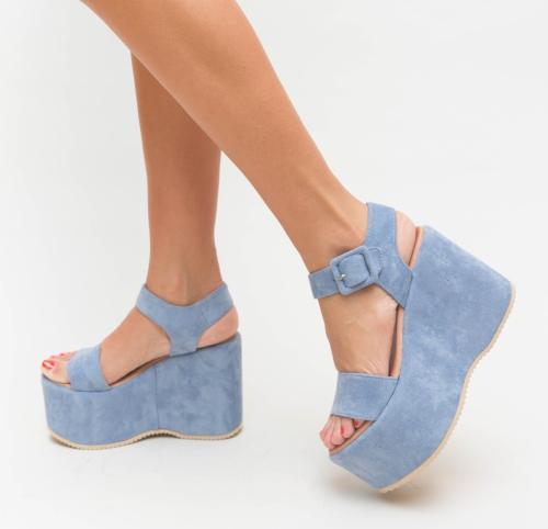 Platforme Meka Albastre - Sandale dama ieftine - Sandale cu platforma
