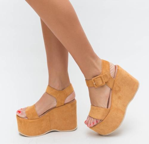 Platforme Meka Camel - Sandale dama ieftine - Sandale cu platforma