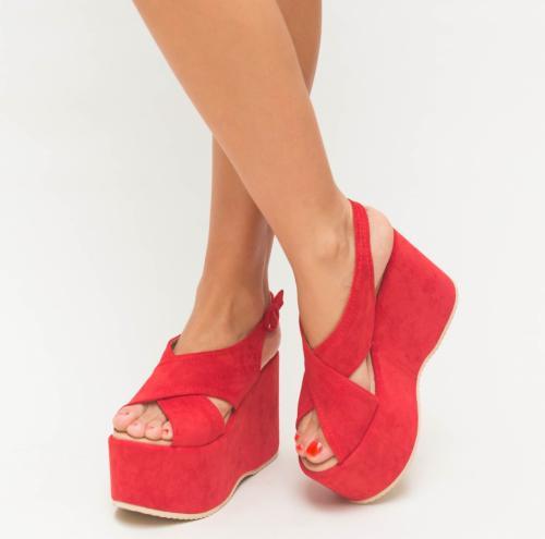 Platforme Milana Rosii - Sandale dama ieftine - Sandale cu platforma