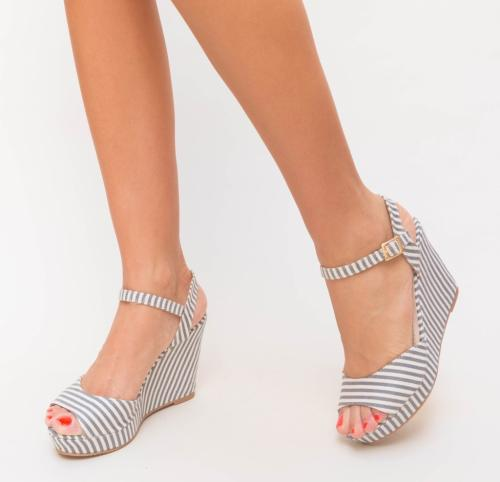 Platforme Mink Gri - Sandale dama ieftine - Sandale cu platforma