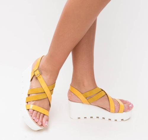 Platforme Muzy Galbene - Sandale dama ieftine - Sandale cu platforma