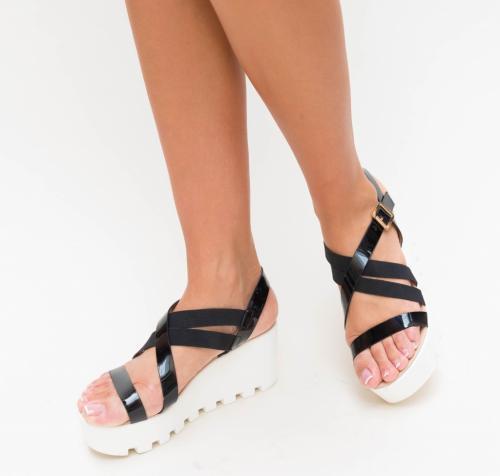 Platforme Muzy Negre - Sandale dama ieftine - Sandale cu platforma
