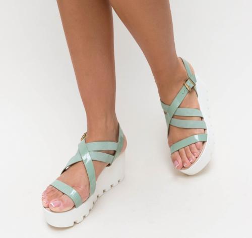 Platforme Muzy Verzi - Sandale dama ieftine - Sandale cu platforma