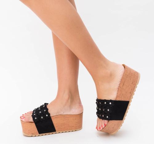 Platforme Peni Negre - Sandale dama ieftine - Sandale cu platforma