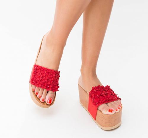Platforme Peni Rosii - Sandale dama ieftine - Sandale cu platforma