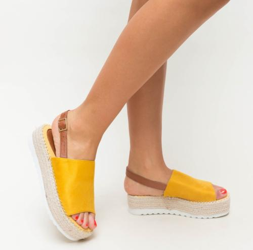 Platforme Sedy Galbene - Sandale dama ieftine - Sandale cu platforma