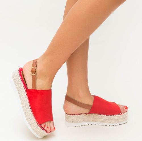 Platforme Sedy Rosii - Sandale dama ieftine - Sandale cu platforma