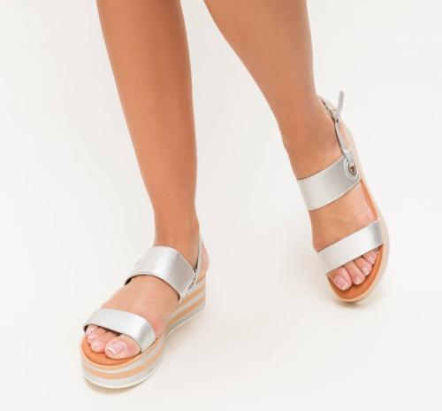 Platforme Sucre Argintii - Sandale dama ieftine - Sandale cu platforma