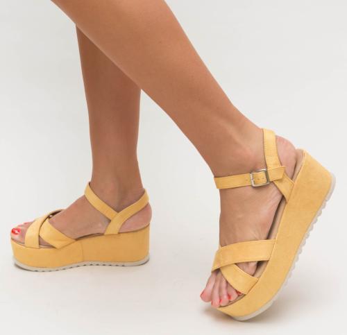 Platforme Trufe Galbene - Sandale dama ieftine - Sandale cu platforma