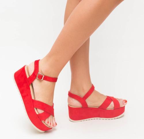 Platforme Trufe Rosii - Sandale dama ieftine - Sandale cu platforma