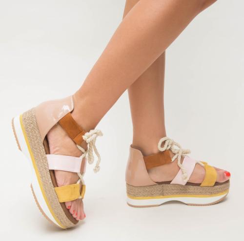 Sandale Arkas Galbene - Sandale dama ieftine - Sandale cu platforma
