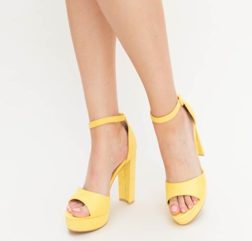 Sandale Atlo Galbene - Sandale dama ieftine - Sandale cu toc gros