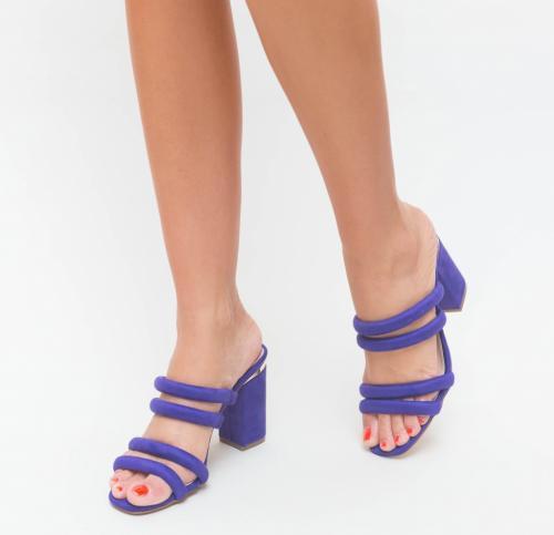 Sandale Belusy Mov - Sandale dama ieftine - Sandale cu toc gros