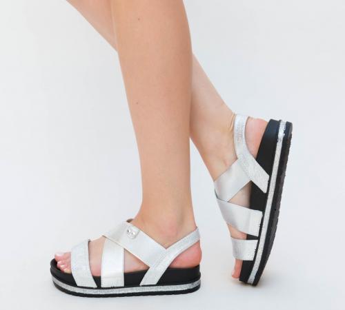 Sandale Bisy Argintii - Sandale dama ieftine - Sandale cu talpa joasa