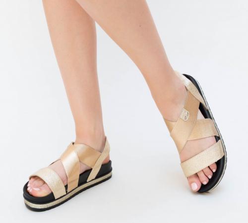 Sandale Bisy Aurii - Sandale dama ieftine - Sandale cu talpa joasa