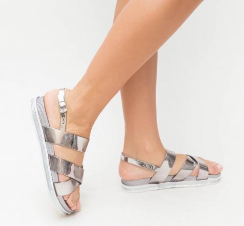 Sandale Ciata Argintii - Sandale dama ieftine - Sandale cu talpa joasa