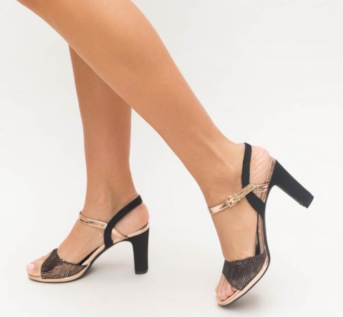 Sandale Cimina Aurii - Sandale dama ieftine - Sandale cu toc gros