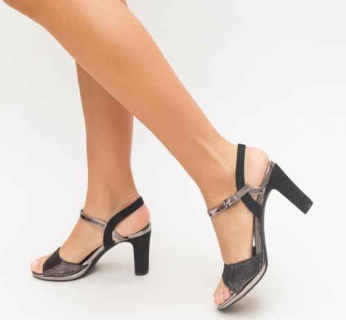 Sandale Cimina Gri - Sandale dama ieftine - Sandale cu toc gros