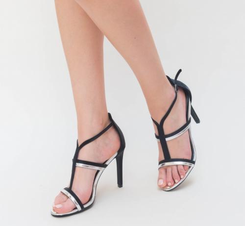 Sandale Cu Toc Ava Argintii - Sandale dama ieftine - Sandale cu toc subtire