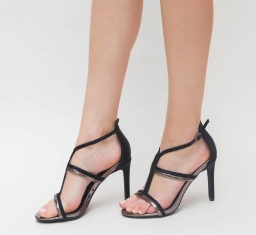 Sandale Cu Toc Ava Gri - Sandale dama ieftine - Sandale cu toc subtire