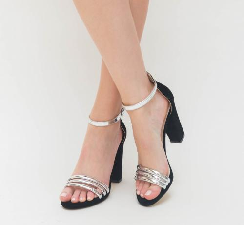 Sandale Dama Loka Argintii 2 - Sandale dama ieftine - Sandale cu toc gros