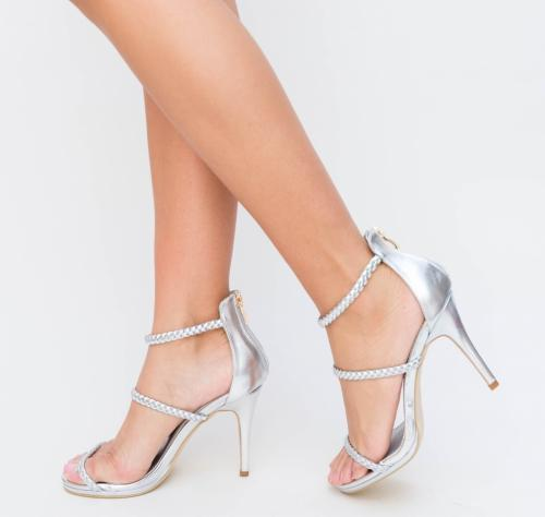 Sandale Dave Argintii - Sandale dama ieftine - Sandale cu toc subtire