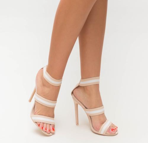Sandale Disol Bej - Sandale dama ieftine - Sandale cu toc subtire