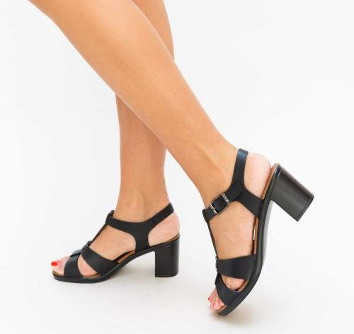 Sandale Duski Negre - Sandale dama ieftine - Sandale cu toc gros