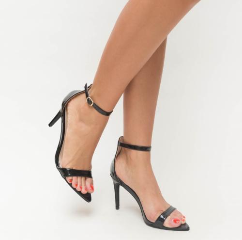 Sandale Elvira Negre - Sandale dama ieftine - Sandale cu toc subtire