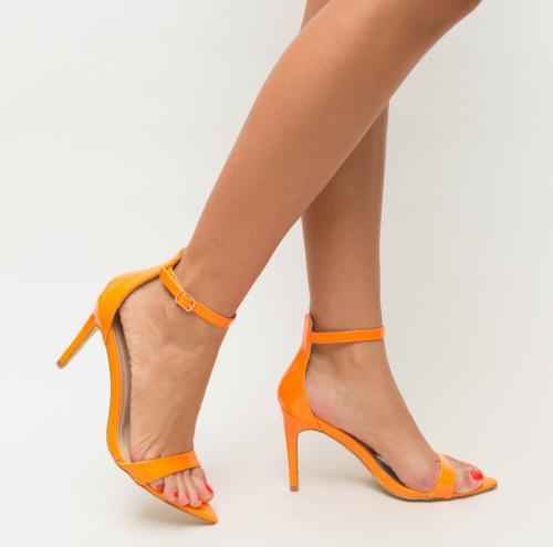 Sandale Elvira Portocalii - Sandale dama ieftine - Sandale cu toc subtire
